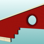 [Sample rendering of a masonry wall with a slope and steps]